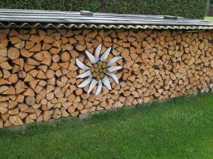 Brennholzunterstand mit Wellplatten